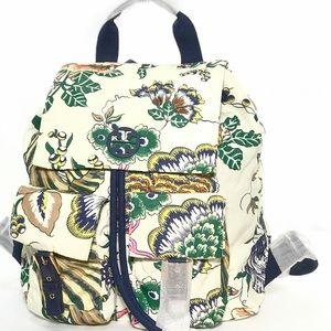 Tory Burch Tilda Printed Nylon Flap Backpack Ivory